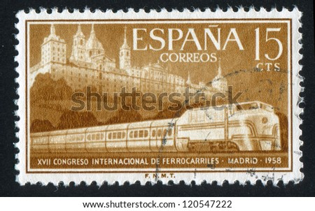 SPAIN - CIRCA 1958: stamp printed by Spain, shows Escorial and Streamlined Train, circa 1958 - stock photo