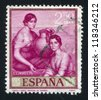 SPAIN - CIRCA 1965: stamp printed by Spain, shows picture of Martha and Mary, circa 1965 - stock photo