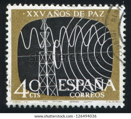 SPAIN - CIRCA 1964: stamp printed by Spain, shows Radio and Television, circa 1964