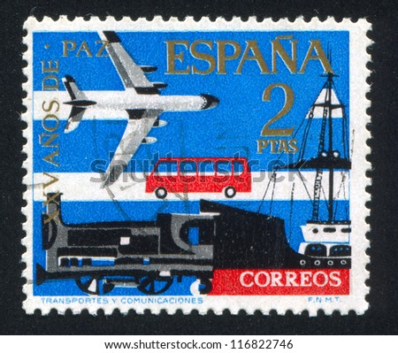 SPAIN - CIRCA 1983: stamp printed by Spain, shows Transport, circa 1983 - stock photo