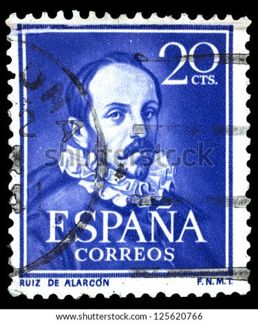 "SPAIN, CIRCA 1950: stamp printed in Spain, showing portrait of Juan Ruiz de Alarcon (1580 � 1639, Playwright), with inscription and name of series ""Ruiz de Alarcon"", circa 1950"