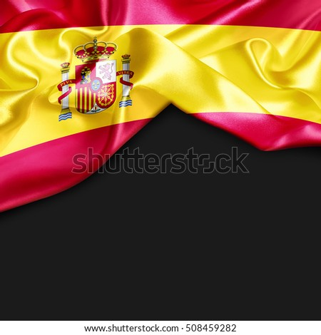Spain Country Flag on black background