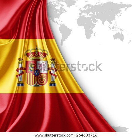 Spain flag and world map background - stock photo
