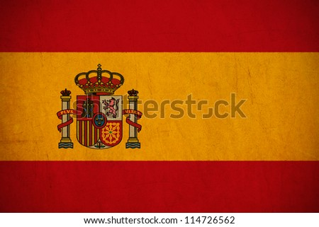Spain flag drawing ,grunge and retro flag series - stock photo