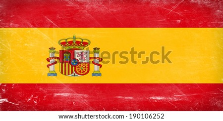 Spain flag. Shabby vintage flag in grunge style. - stock photo