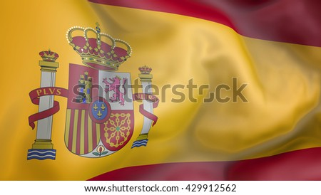 Spain flag waving in the wind 3d Illustration - stock photo