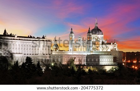 Spain, Madrid Cathedral Almudena - stock photo