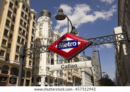 Spain,Madrid - May 27, 2016: Subway sign of metro station in the Gran Via main street in Madrid, Spain on May 27, 2016