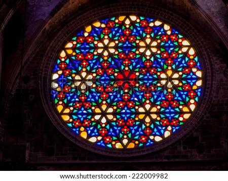"spain, mallorca, palma. the cathedral ""la seu"" as touristenatrraktion in the city center. - stock photo"