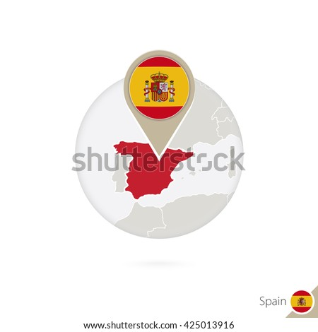Spain map and flag in circle. Map of Spain, Spain flag pin. Map of Spain in the style of the globe. Raster copy. - stock photo