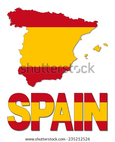 Spain map flag and text illustration