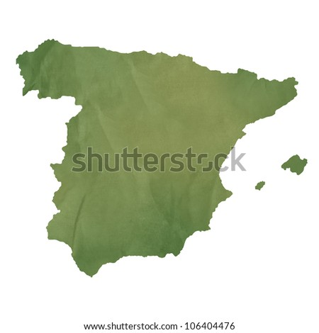 Spain map in old green paper isolated on white background.