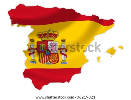 Spain  map on a waving flag - stock photo