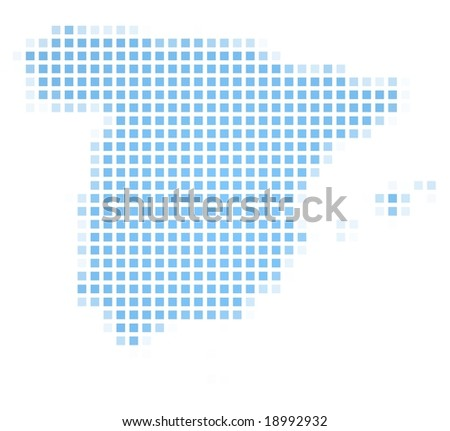 Spain map square mosaic. Easy to recolor. - stock photo