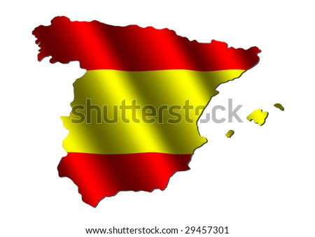 Spain map with rippled flag on white illustration