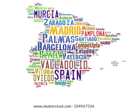 SPAIN map words cloud of major cities with a white background - stock photo