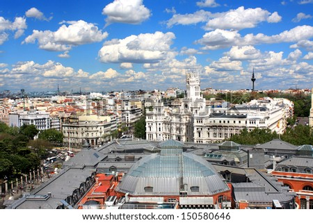Spain. Panorama of Madrid. Scenic view on top of the historic district of Madrid.