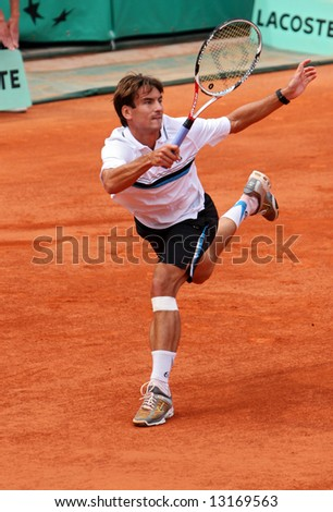 Spain's top tennis player Tommy Robredo plays at Roland Garros, French Open, Paris, France, May 2008
