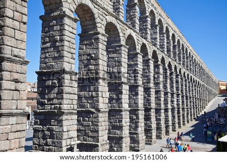 SPAIN, SEGOVIA - May 03.2014: Roman aqueduct, built at the end of 1 century of our era - stock photo