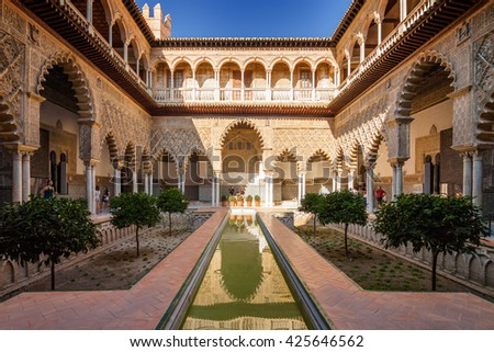 september inside alcazar palace in sevilla andalusia province