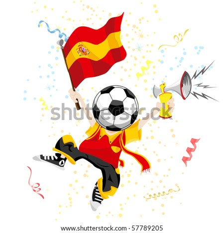 Spain Soccer Fan with Ball Head. - stock photo