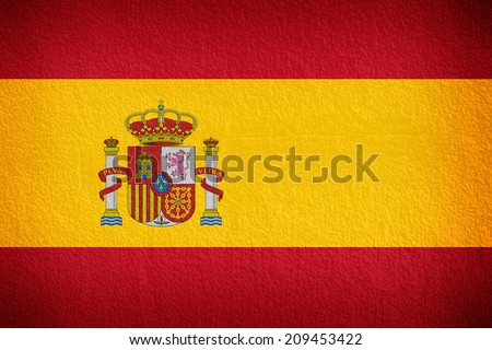 Spain, Spanish flag on wall textured background  - stock photo