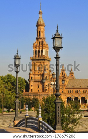 Spain square in Seville, architectural big tower in Andalusia - stock photo
