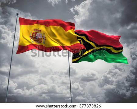 Spain & Vanuatu Flags are waving in the sky with dark clouds