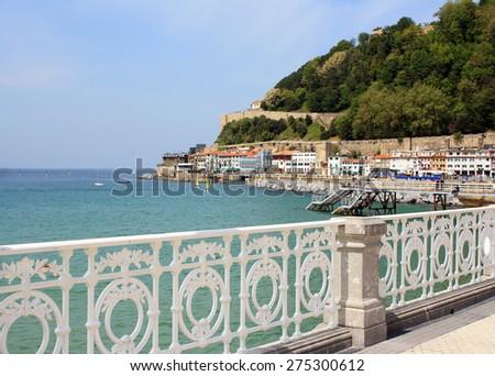 Spain. View from the promenade of the city - resort of San Sebastian. - stock photo