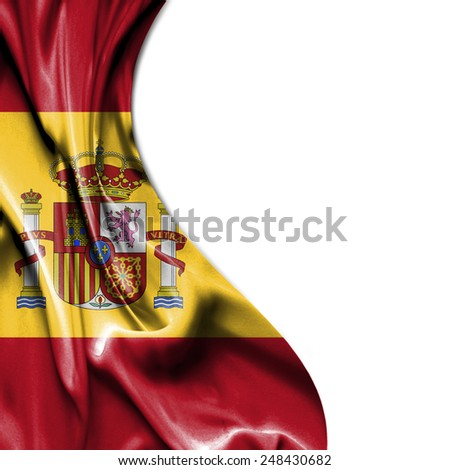 Spain waving silky flag isolated on white background - stock photo