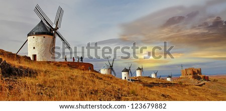 Spain, windmills on sunset, - stock photo