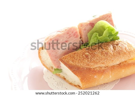 Spam and lettuce sandwich - stock photo