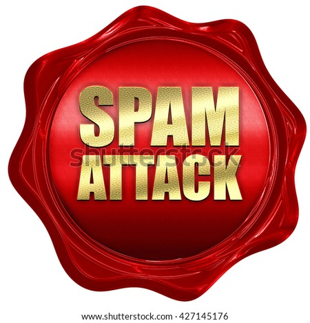spam attack, 3D rendering, a red wax seal - stock photo