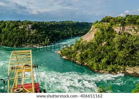 Spanish Aero Car above Niagara whirlpool, has been in operation since 1916. Ontario Canada. - stock photo
