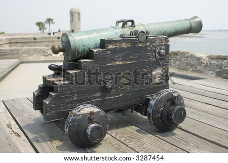 Spanish American fortress cannon on top fort deck - series 01 - stock photo