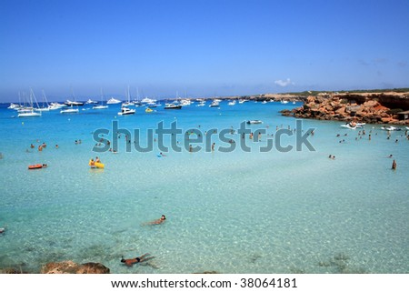 Spanish beach in Baleares - stock photo