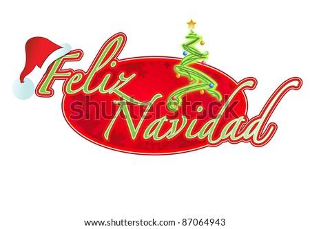 Spanish Christmas sign illustration design Feliz Navidad - stock photo