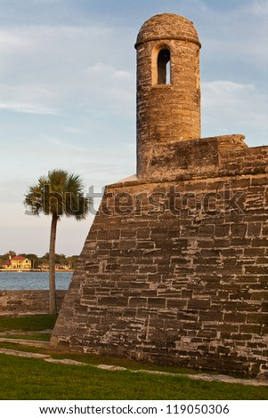 Spanish colonial fortress of Castillo de San Marcos at St. Augustine - stock photo