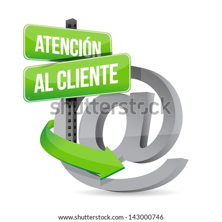 spanish customer support at sign illustration design over white