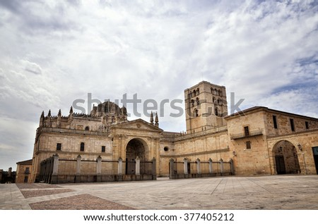 Spanish destination, old town of Zamora - stock photo