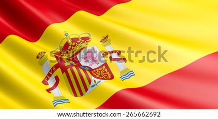 Spanish flag fluttering in wind. - stock photo