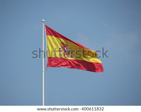 Spanish flag from Spain floating in the air
