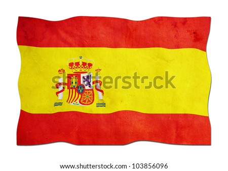 Spanish Flag made of Paper - stock photo