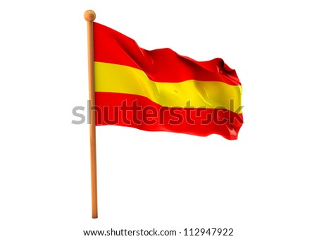 Spanish flag waving on white background. 3D image - stock photo
