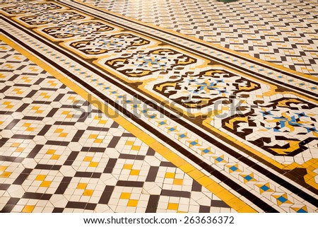 Spanish floor tiles, Barcelona, Spain. - stock photo