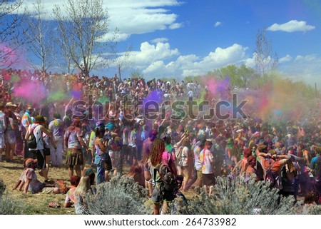 Spanish Fork, Utah, USA. 3/28/15 Crowd at the Color Festival. - stock photo