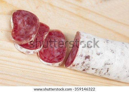 Spanish fuet sausages - stock photo