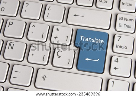 Spanish keyboard with language translate concept icon over blue background button.  Image with clipping path for easy change the key color and editing. - stock photo