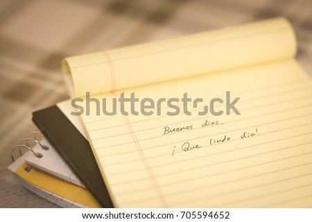 Spanish learning new language writing greetings stock photo royalty spanish learning new language writing greetings on the notebook translation good morning m4hsunfo