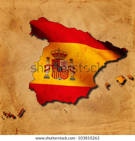 Spanish map with flag over old paper - stock photo